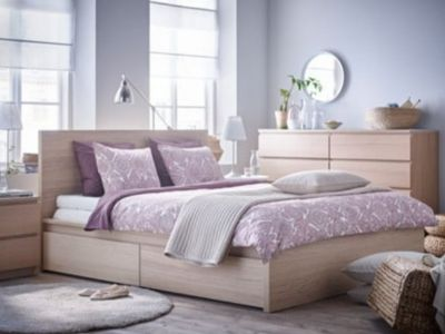 Malm King bed w/mattress IKEA