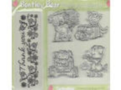 BENTLEY TEDDY BEAR Set of 4 Stamps and THANK YOU Embossing