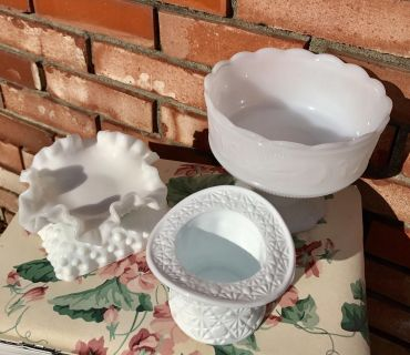 Ruffled Hobnail Dish, Square Hobnail Dish, Lg Daisy & Button Top Hat, Lg Embossed Compote