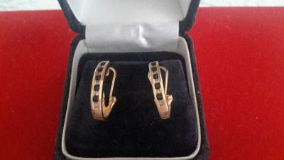 14kt Gold/Sapphires/Diamond hoops, mint condition