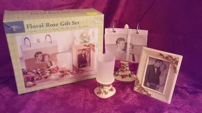 3 pc set picture frame, photo stand and votive candle holder