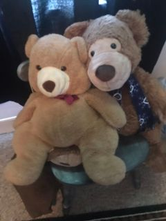 Two large teddy bears