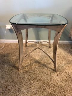 """Wrought Iron glass top end table, base is very heavy, in excellent condition 24"""" w x 29"""" d x 23"""" t"""