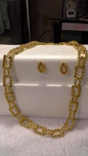 Gold fashion necklace and earrings