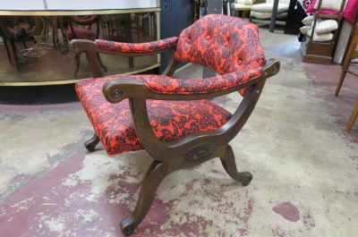 Vintage Mid century carved wood lounge chair