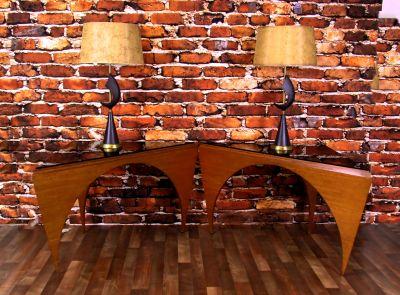 Rare Pair of MCM Teak Smoke Glass Triangle Tables