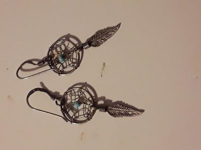 Silver Dreamcatcher Earrings with Feather