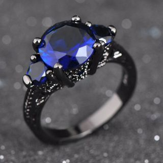 New - Blue Sapphire and Black Ring - Size 7