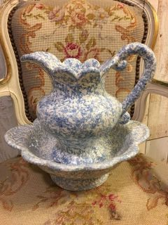 Blue and White Bowl and Pitcher Set
