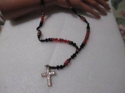 HAND MADE RED AND BLACK CRYSTAL ROSARY BEADS