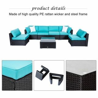 Blue Sectional Sofa Rattan Seating