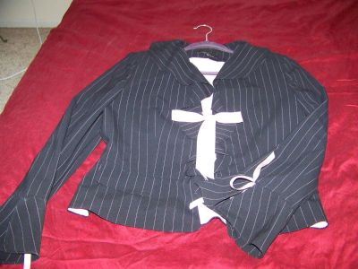 Womans Black Striped Jacket with PINK Ribbon