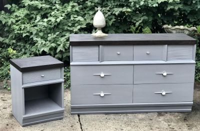 Beautiful Mid Century Dresser/Buffet And Night Stand/End Table+Mirror, Cross Posted