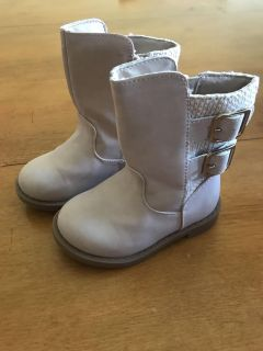 Size 5 Toddler Pale Pink/Gold Boots