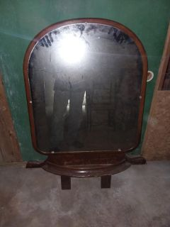 Antique mirror with mantle