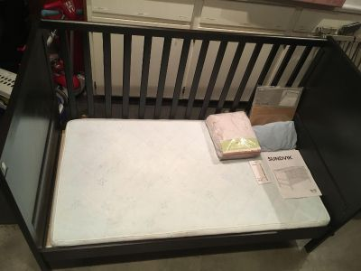 Crib toddler bed convertible with mattress bundle. Reduced!