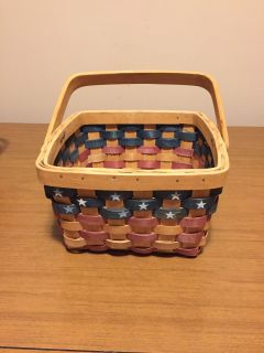 "New Americana woven basket 5.25"" high by 8.5"" wide"