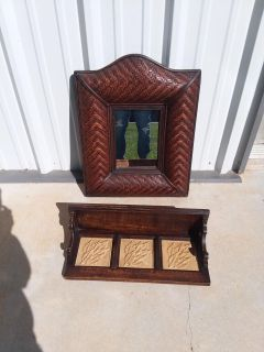 """Mirror 26"""" X 19"""" and solid wood shelf 22"""" X 10"""" X 6"""" $25 each or $42 for both LIKE NEW"""