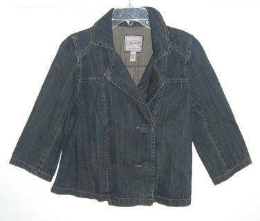 Heritage Double-Breasted Denim Jean jacket Womens Large