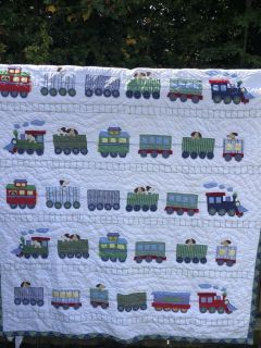 Pottery Barn Kids Quilt Train Dogs Puppies 70x96