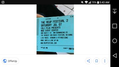 2 tickets to Cali re up Festival