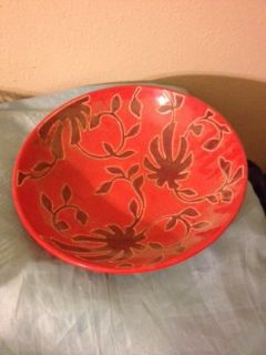 Large Red Home Decor Bowl Floral Flower Centerpiece Maroon Table Dining Room Kitchen