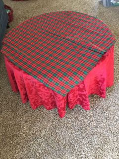 66 Round Red Damask Tablecloth with 34 square plaid topper