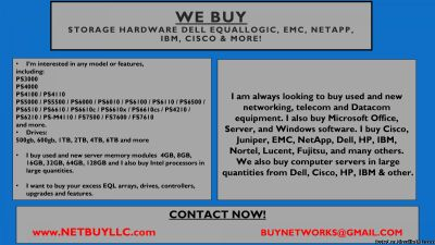 WE BUY WANTED CISCO, NETAPP, EMC, DELL, JUNIPER, INTEL, HYNIX, SAMSUNG & MORE WE BUY USED/NEW COMPUTER SERVERS, NETWORKING, MEMORY, DRIVES, CPU S, RAM, DRIVE STORAGE ARRAYS, HARD DRIVES, SSD DRIVES, INTEL & AMD PROCESSORS, DATA COM, TELECOM, IP PHONES