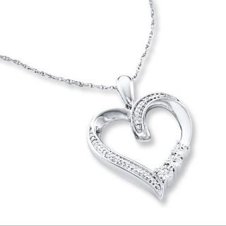 Diamond Heart Necklace Sterling Silver