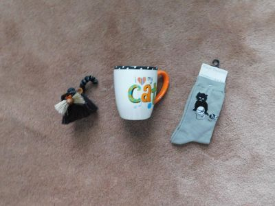 Cat Lover Items Coffee Cup, Socks, & Troll Figurine -- All for $15.00