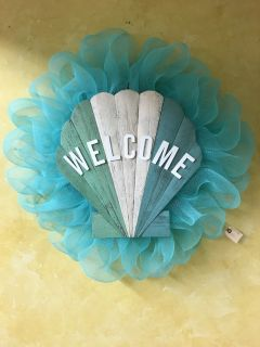 Wood Seashell Sign Welcome Wreath