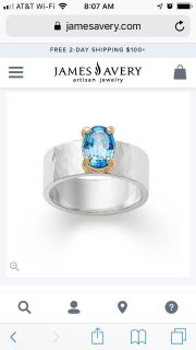 Size 5.5 or 6 James Avery blue topaz ring price firm worn maybe five times