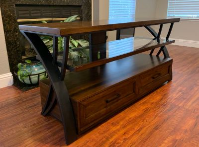 TV Stand Center Console Table - excellent condition, wood and metal, heavy duty $100