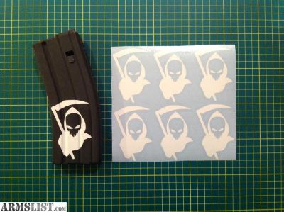 For Sale: Grim Reaper AR15 Mag Sticker 6 Pack