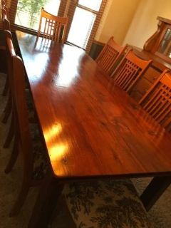 Custom 8ft barn wood Dining table and chairs