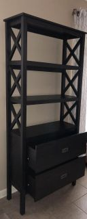 3-Shelf X-Bookcase with 2 Drawers