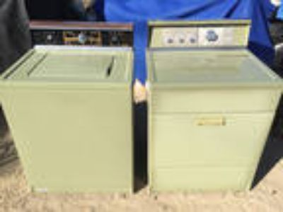 Vintage Sears Kenmore Avacado Green Washer & Electric Dryer