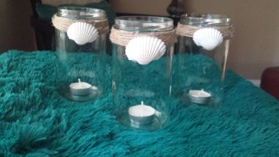 Glass jars with jute rope and shell accent
