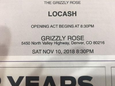Date Night 2 tickets LOCASH concert at Grizzly Rose SATURDAY 10th