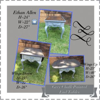Pair of Grey Chalk Painted End Tables