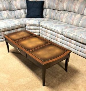 Vintage Coffee Table with Leather Inserts