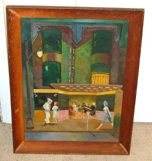 Antique Signed Sailor WWII Painting - Estate