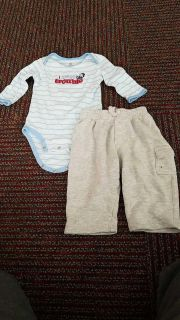 Just One Year Size M 6-9 mons onesies & 6-9 mons pants
