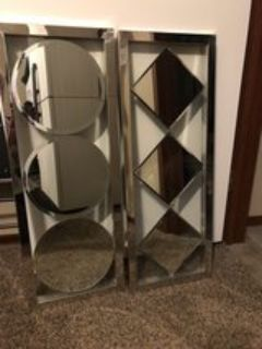 mirror and glass wall hanging