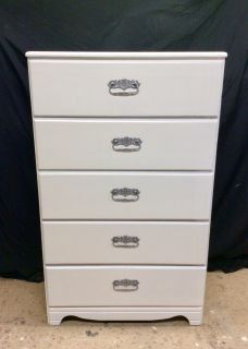 Solid pine dresser redo, lightweight, Soft White finish, drawers open well, brushed silver look hardware