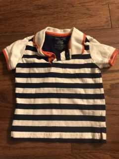 Navy blue and white striped shirt, 3-6 months