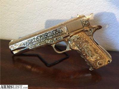 For Sale: 1911 colt 38 super 2nd model year 1948 Colt 38 super 1911 2nd model gold plated engraved