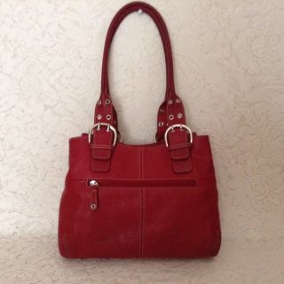 "Authen. ""TIGNANELLO"" shoulder carry-all in Tuscan red genuine leather"