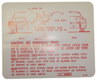 Sell 1966 Buick Electra LeSabre Jack Instructions Decal motorcycle in San Diego, California, United States, for US $6.12
