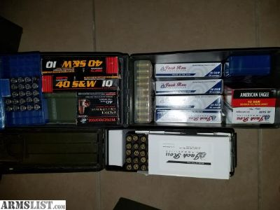 For Sale: 40cal Ammo Lot: 1,870 FMJ, 80 HP, More $350